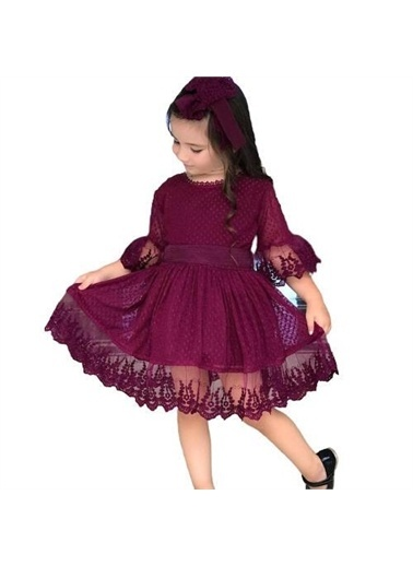 Riccotarz Güpürlü Prenses Kız Çocuk Elbise Mor